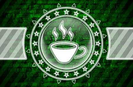Coffee icon in circle shape and green brickwall. Illustration.