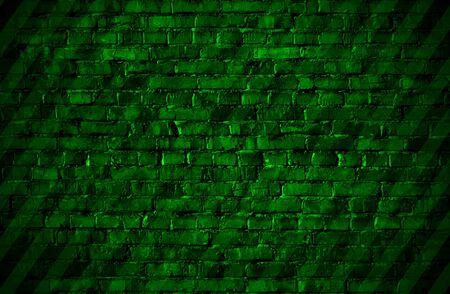 Texture of green striped brickwall. Illustration.