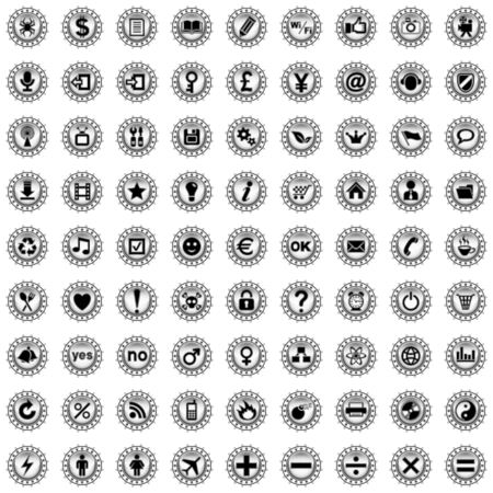 Collection of different icons. Illustration.