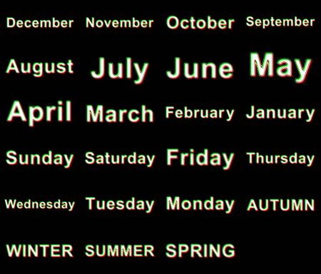 Days of the week, months and seasons. Illustration.