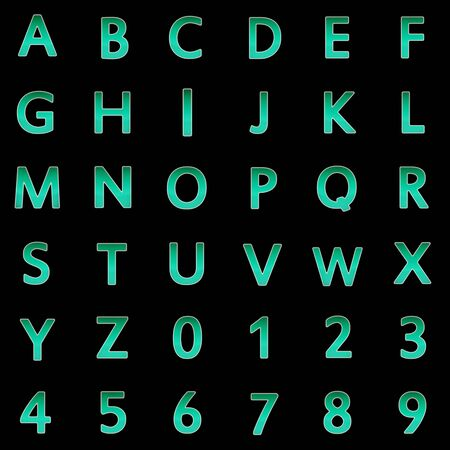 Collection of capital letters and numbers. Illustration.