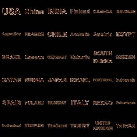 Collection of names of the countries. Illustration.