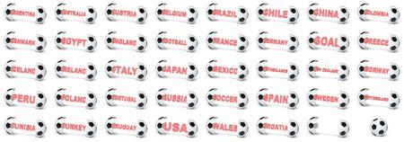 Collection of national soccer balls. 3D Illustration.