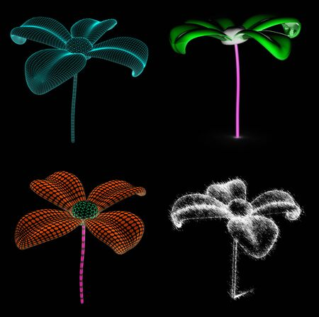 Collection of flowers. 3D Illustration.