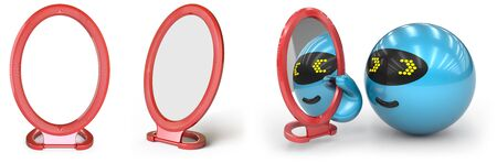 Mirrors in white background. 3D Illustration.