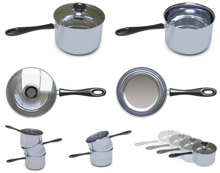 Collection of pans in white background. 3D Illustration.