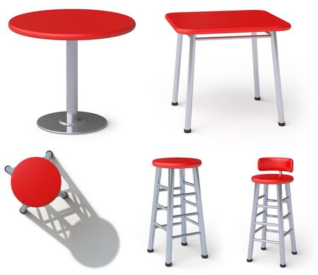Table and chair in white background. 3D Illustration. 스톡 콘텐츠
