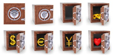 Collection of safes in white background. 3D Illustration.