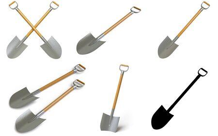 Collection of shovels. 3D Illustration.