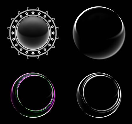 Collection of circle frames in black background. Illustration. 스톡 콘텐츠