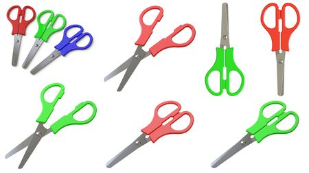 Collection of scissors. 3D Illustration. 스톡 콘텐츠