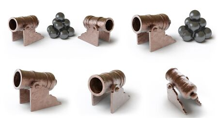 Collection of cannons. 3D Illustration. 스톡 콘텐츠