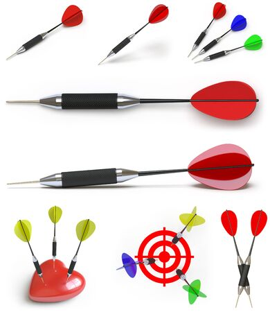 Collection of darts. 3D Illustration. 스톡 콘텐츠