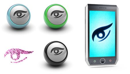 Collection of eye icons. 3D Illustration.