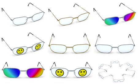 Collection of glasses. 3D Illustration.