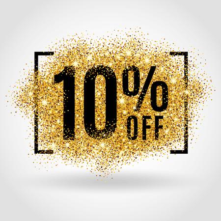 Gold-Verkauf 10% Prozent auf Goldgrund. Gold-Verkauf Hintergrund für Poster, Einkaufen, Zeichen für den Verkauf, Rabatt, Marketing, Verkauf, Banner, Web, Header. Gold-Hintergrund verwischen