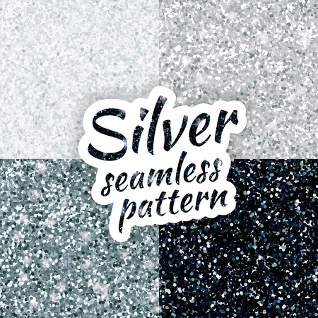 Silver sparkles texture, with shine and glossy confetti. Silver glitter for texture or background, for xmas, year, new, holiday, festive, event.