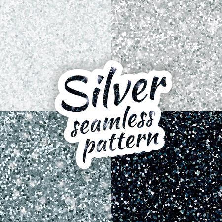 Srebrny błyszczy teksturę, ze świecą i błyszczącym konfetti. Srebrny brokat na fakturze lub w tle, na Boże Narodzenie, rok, nowy, święto, uroczysty, wydarzenia.