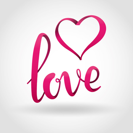 whine: Love pink 3d lettering background. Love volume script icon for card, invitation, banner, poster, greeting card. Pink love icon on whine background. Happy valentines day.