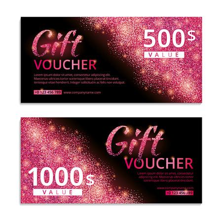 ピンクの伝票キラキラ背景。テキストとピンクのギフト券。排他的な vip カード、web アイコン バナー、証明書、ギフト、高級、特権、伝票、ストア