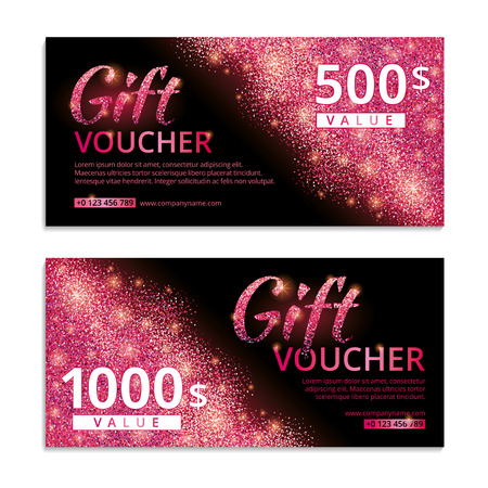 Pink voucher glitter background. Pink gift voucher with text. Banners for icon, web, card, vip, exclusive, certificate, gift, luxury, privilege, voucher, store, present, shopping, sale. Pink sparkles.