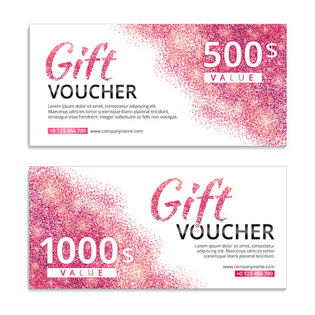 Pink voucher glitter background. Pink gift voucher with text. Banners for web, card vip exclusive certificate gift luxury privilege, voucher, store, present, shopping, sale. Pink sparkles.