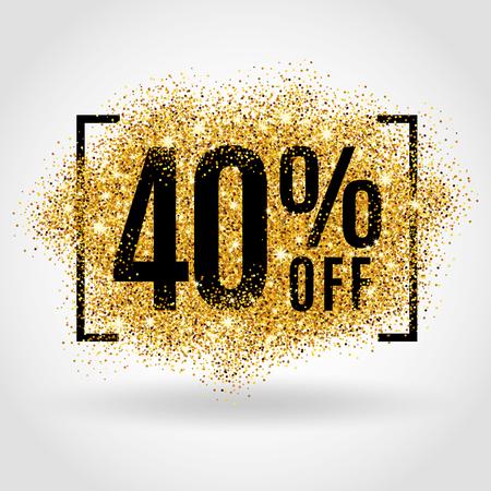 Gold-Verkauf 40% Prozent auf Goldgrund. Gold-Verkauf Hintergrund für Poster, Einkaufen, Zeichen für den Verkauf, Rabatt, Marketing Verkauf, Banner, Web, Header. Gold-Hintergrund verwischen