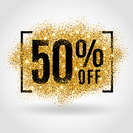 Gold sale 50% percent on gold background. Gold sale background for poster, shopping, for sale sign, discount, marketing selling banner web header. Gold blur background
