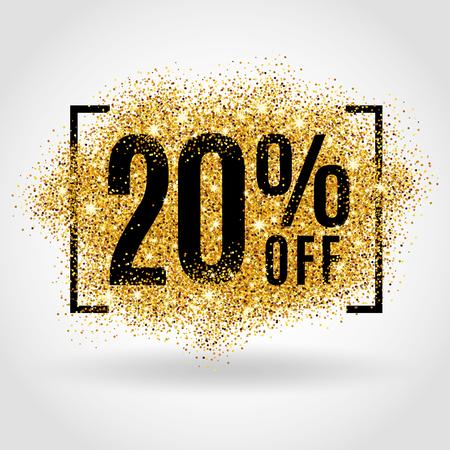 oro: venta de oro 20% por ciento sobre fondo de oro. Fondo de la venta de oro para ir de compras con descuento del cartel para firmar la venta, comercialización, venta, bandera, tela, encabezado. desenfoque de fondo de oro