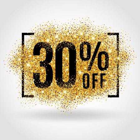 on off: Gold sale 30% percent on gold background. Gold sale background for poster, shopping, for sale sign, discount, marketing selling, banner web header. Gold blur background