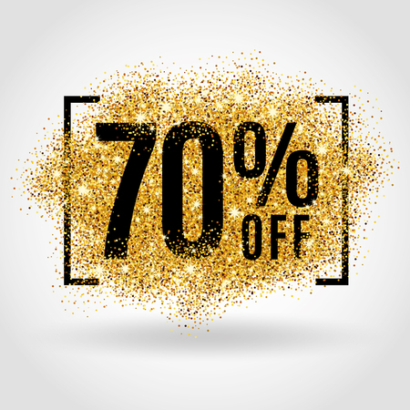 Gold sale 70% percent on gold background. Gold sale background for poster, shopping, for sale sign, discount, marketing, selling, banner, web header. Gold blur background Ilustracja