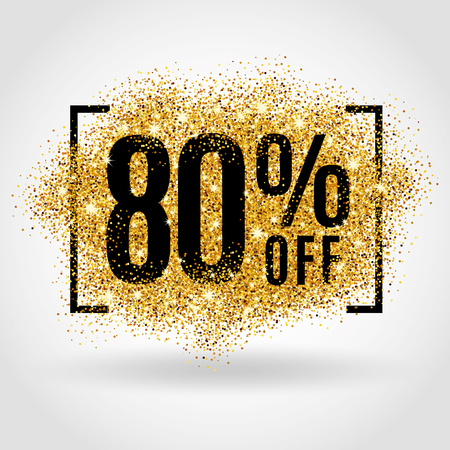 Gold sale 80% percent on gold background. Gold sale background for poster, shopping, for sale sign, discount, marketing, selling, banner, web header. Gold blur background