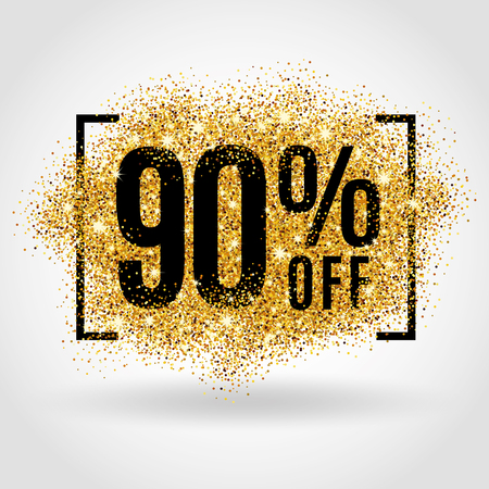 Gold sale 90% percent on gold background. Gold sale background for poster, shopping, for sale sign, discount, marketing, selling, banner, web header. Gold blur background Illustration