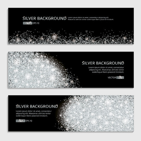 Silver sparkles on white background, banners. Silver banner.  banner with text. Banners icon, web, card, vip, certificate, gift, luxury, privilege, voucher, store, present, shopping, sale, header.