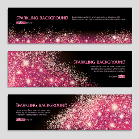 Pink and red sparkles black background, banners. Pink banner. Pink background. Red banner with text. Banners web, card, vip, exclusive, certificate, gift, luxury, voucher, store, shopping, sale