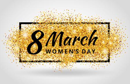 8 marca Dzień Kobiet. Złoty brokat. Złote tło dla plakatu, znak, transparent, www, cel. Streszczenie złote tło dla ósmego marca. Złoto rozmycie tła.