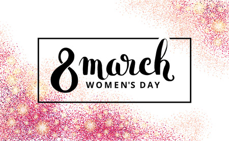 design frame: 8 march womens day. Pink glitter. Pink background for poster, sign, banner, web header. Abstract golden background for eighth march. Gold blur background. 8 march.