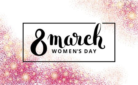 El día 8 de marzo de las mujeres. purpurina rosa. fondo de color rosa para el cartel, cartel, pancarta, la cabecera del Web. Fondo de oro abstracto en el octavo mes de marzo. desenfoque de fondo de oro. 8 de marzo. Foto de archivo - 52534451