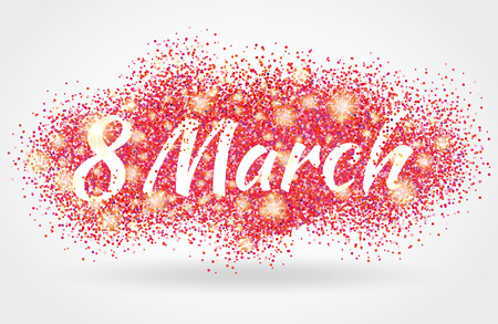 8 march women day. Pink glitter. Pink background for poster, sign, banner, web header. Abstract golden background for eighth march. Gold blur background. 8 march.