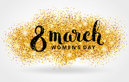 mar: 8 march womens day. Gold glitter. Gold background for  poster, sign,  web header. Abstract golden background for eighth march. Gold blur background. 8 march. Stock Photo