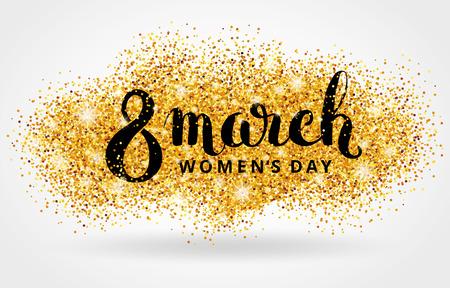 8 mars des femmes de jour. paillettes d'or. fond d'or pour l'affiche, signe, tête web. Résumé fond d'or pour la huitième mars. Or flou fond. 8 mars.