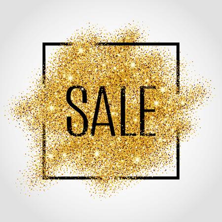 Sprzedaż Złote tło dla plakatu, zakupy, na sprzedaż znak, dyskonta, marketingu, sprzedaży, sieci, cel. Streszczenie złote tło dla tekstu, typ cytatu. Złoto rozmycie tła