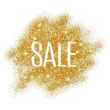 ゴールド販売ポスター、ショッピング、売却の記号、割引、マーケティング、販売、ウェブ、ヘッダーの背景。引用符テキスト型の黄金背景を抽象