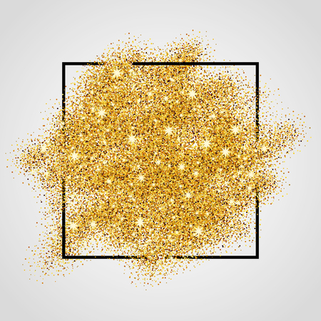Gold sparkles on white background in frame. Gold glitter background. Gold background for card, vip, exclusive, certificate, gift, luxury, privilege, voucher, store, present, shopping.