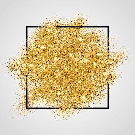 Zlatá jiskří na bílém pozadí v rámu. Zlaté třpytky pozadí. Zlaté pozadí pro kartu, VIP, exkluzivní, osvědčení, dárku, luxusním, privilegium, voucher, obchod, přítomný, nakupování.