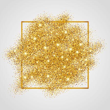 Gold funkelt auf weißem Hintergrund im Rahmen. Gold-Glitter Hintergrund. Gold-Hintergrund für die Karte, vip, exklusiv, Zertifikat, Geschenk, Luxus, Privileg, Gutschein, Geschäft, Geschenk, Einkaufen.
