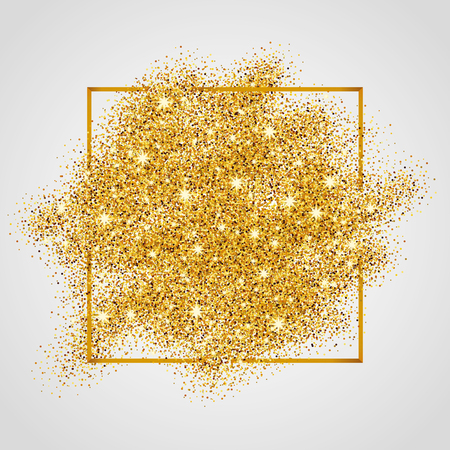 gold glitter: Gold sparkles on white background in frame. Gold glitter background. Gold background for card, vip, exclusive, certificate, gift, luxury, privilege, voucher, store, present, shopping.
