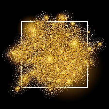 staub: Gold funkelt auf weißem Hintergrund im Rahmen. Gold-Glitter Hintergrund. Gold-Hintergrund für die Karte, vip, exklusiv, Zertifikat, Geschenk, Luxus, Privileg, Gutschein, Geschäft, Geschenk, Einkaufen.