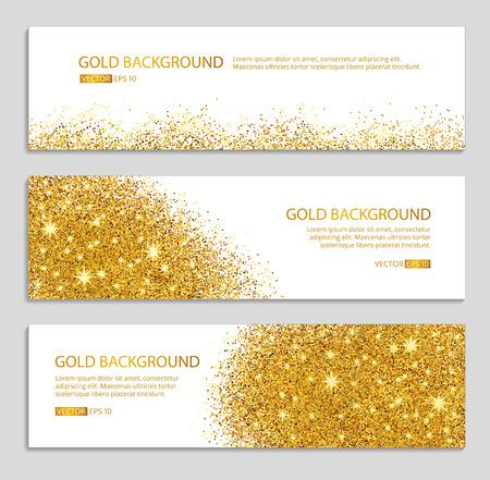 Gold funkelt weißen Hintergrund. Gold-Banner. Gold-Hintergrund. Gold Club mit Text. Web, Karte, vip, exklusiv, Zertifikat, Geschenk, Luxus, Gutschein, Geschäft, Einkaufen, Verkauf. Vektorgrafik