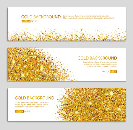 web design banner: Gold sparkles white background. Gold banner. Gold background. Gold club with text.  web,  card, vip, exclusive, certificate, gift, luxury, voucher, store, shopping, sale.